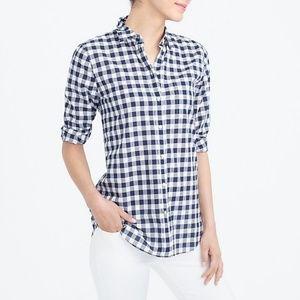 J.Crew blouse button down Gingham check blue